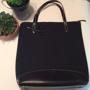 KATE SPADE Black Leather & Neoprene Square Print